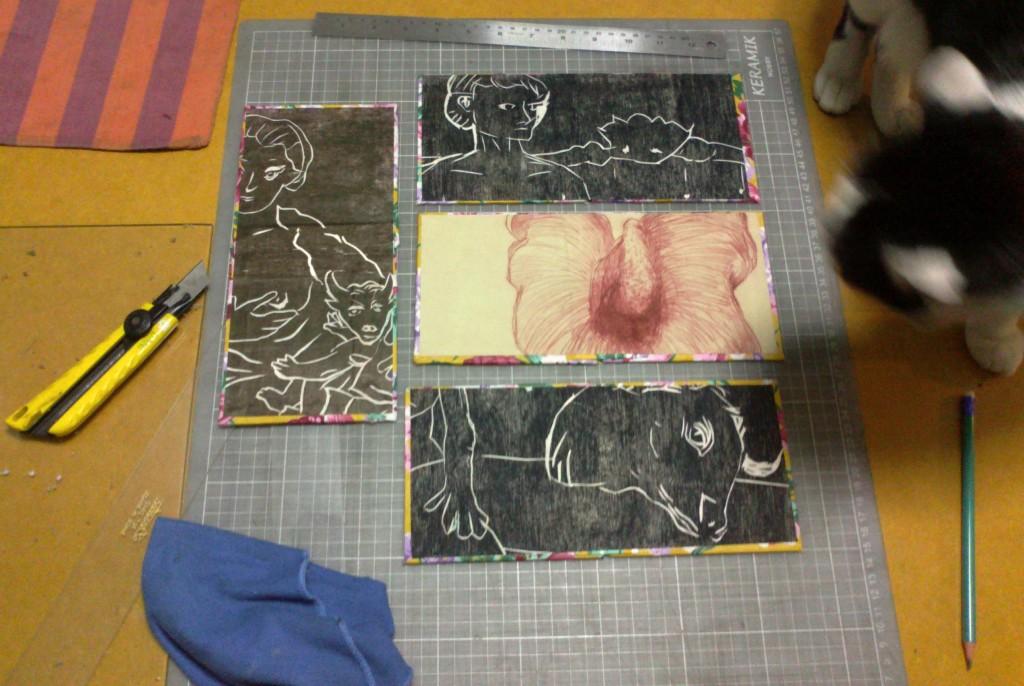 gravuras em metal e madeira refiladas como guarda para as capas